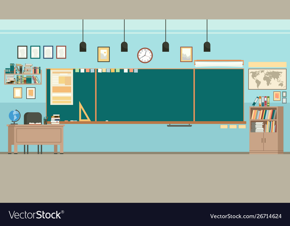 School classroom with chalkboard study class with