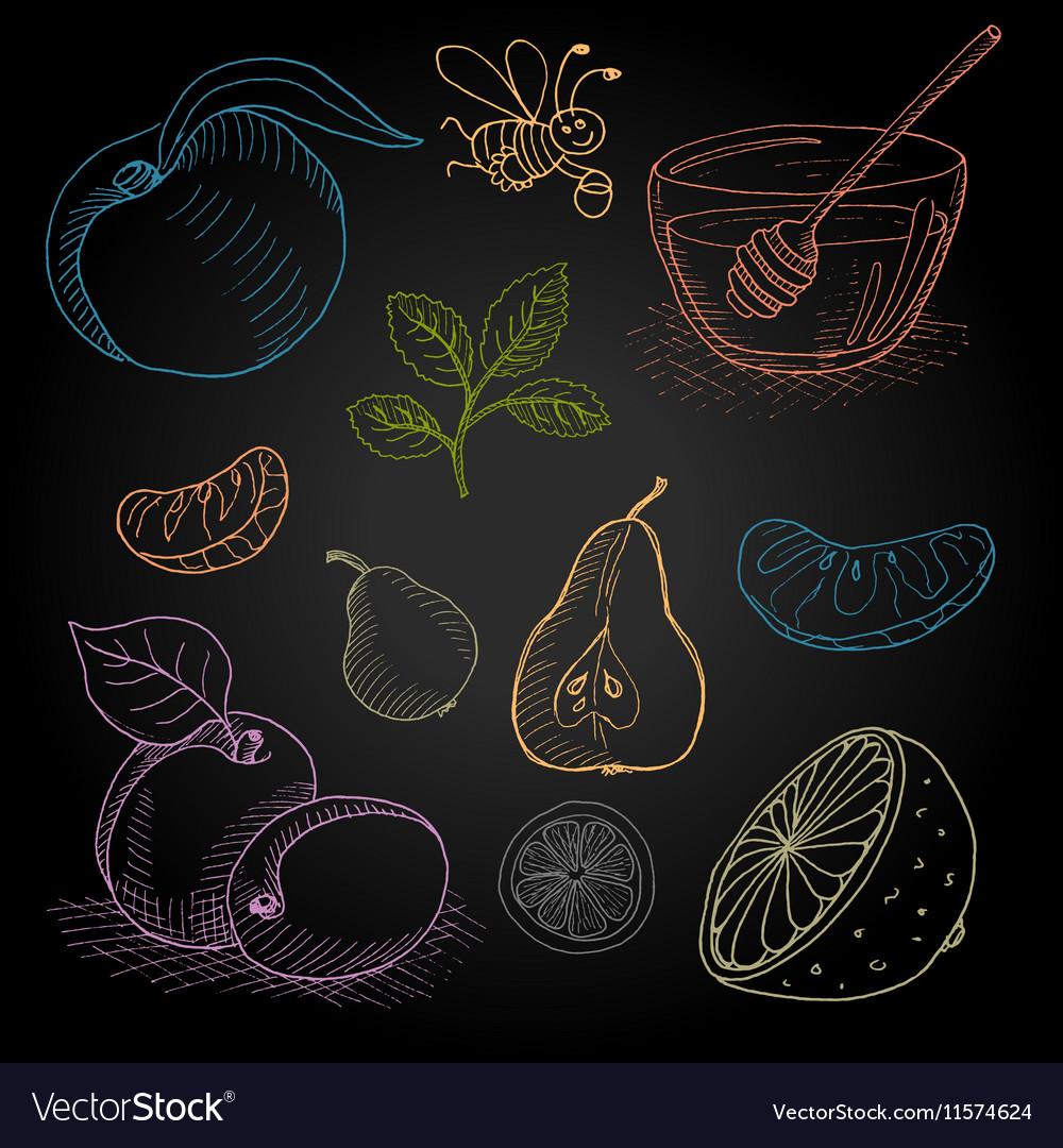 Set hand-drawn food ingredients on chalkboard