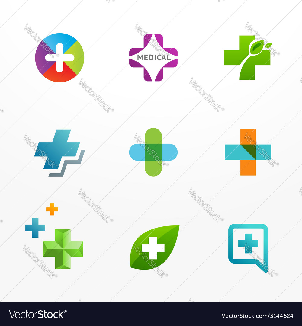 Set of medical logo icons with cross and plus