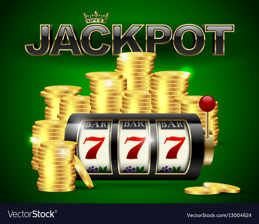 Slot machine with lucky seven and golden coins