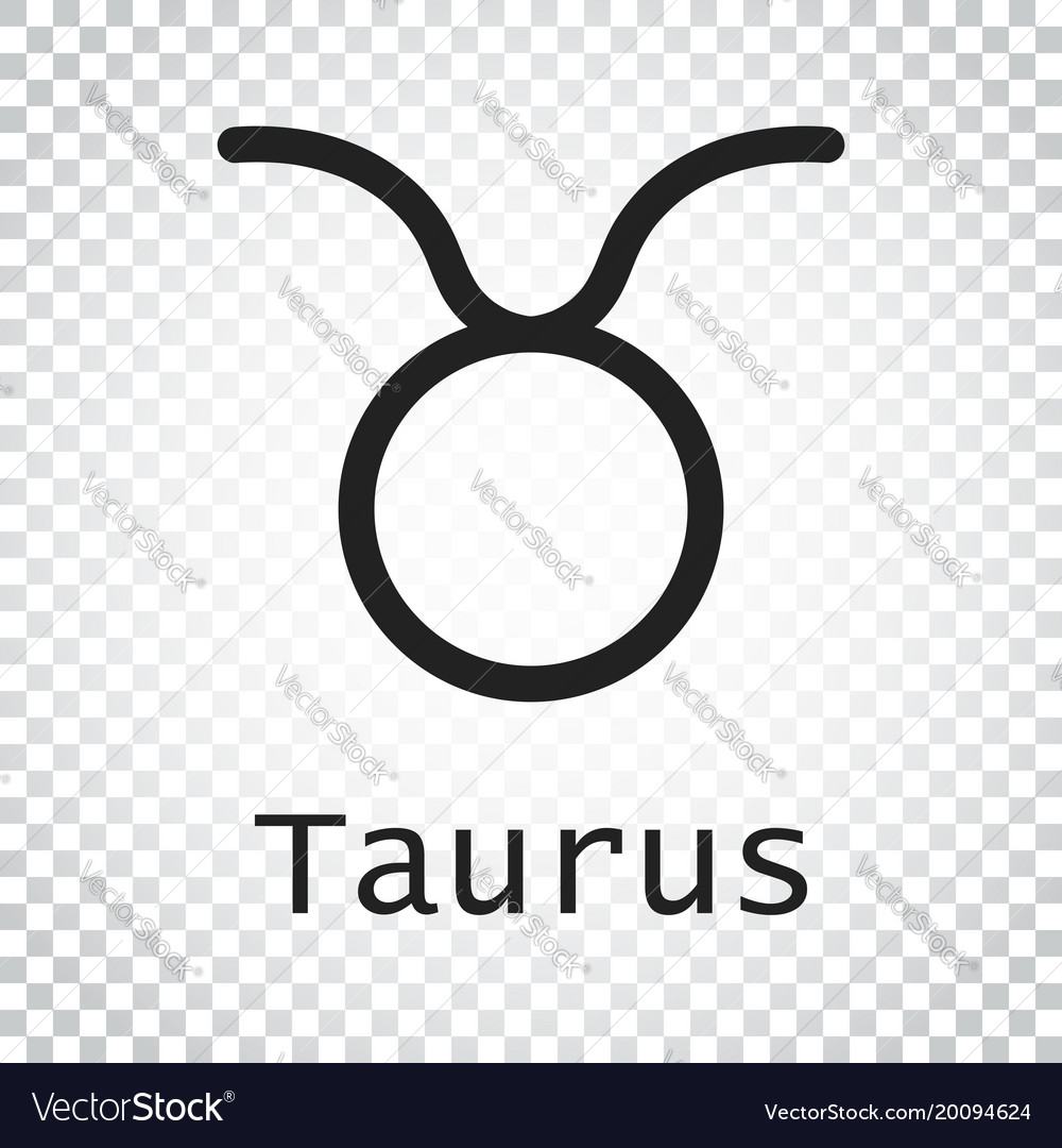 Taurus zodiac sign flat astrology on isolated