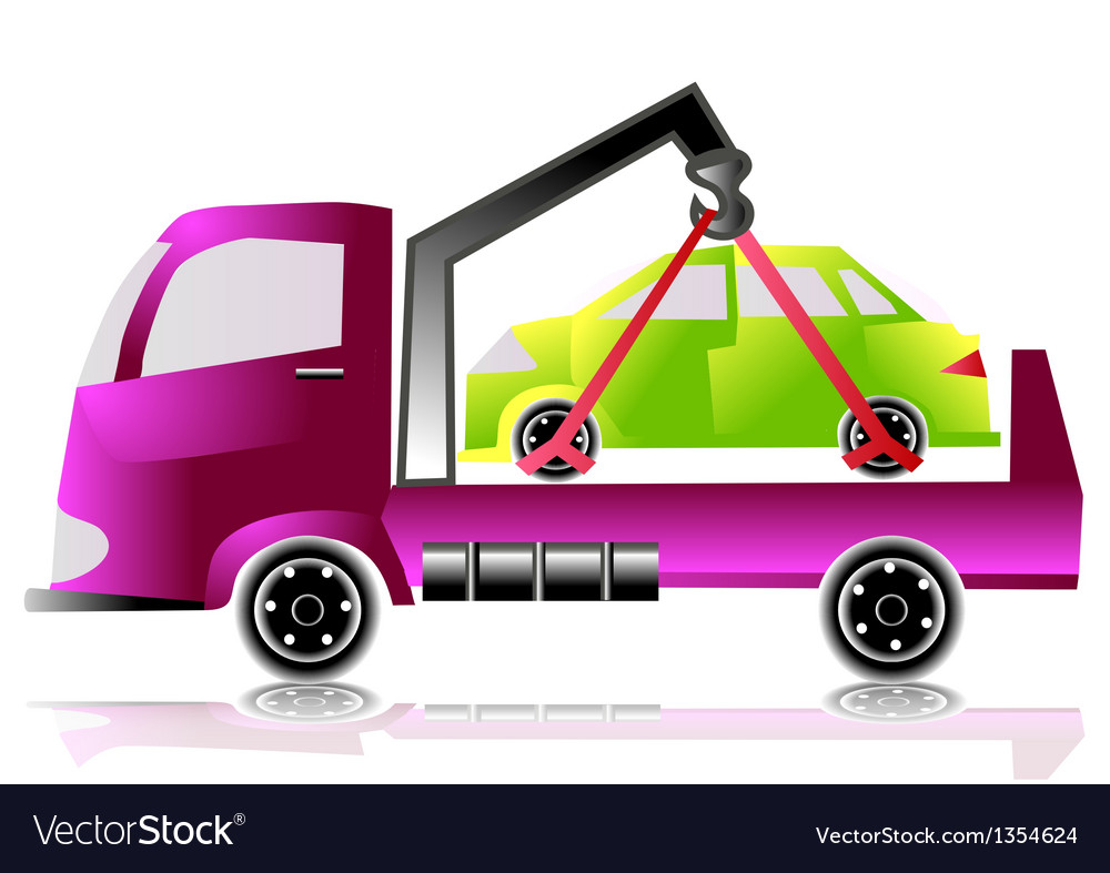 Tow truck with a car vector image