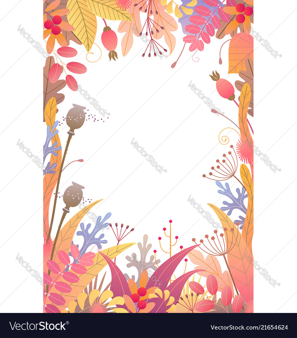 Vertical floral frame with autumn plants