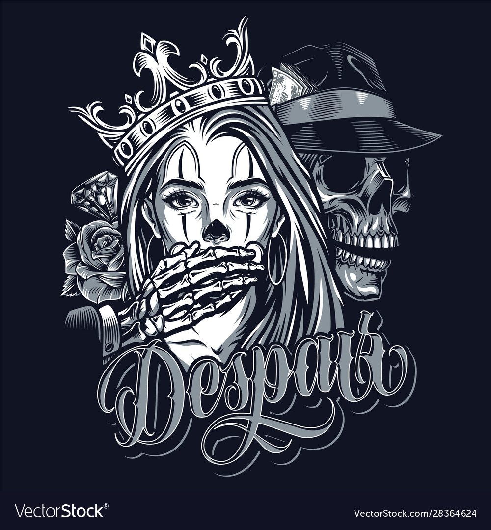 Vintage chicano style tattoo template