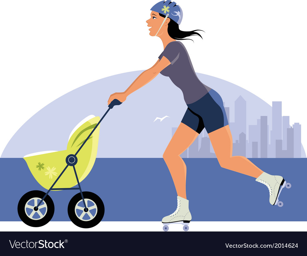 Young mother roller skating with a stroller