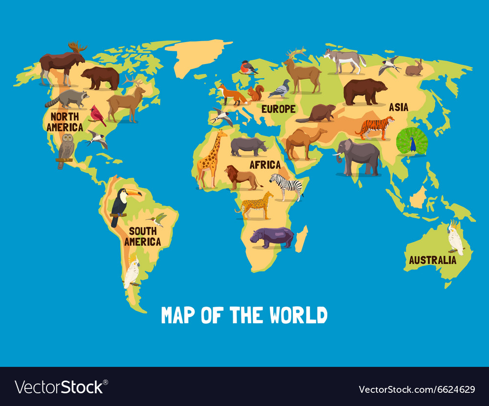 Animals World Map Royalty Free Vector Image Vectorstock