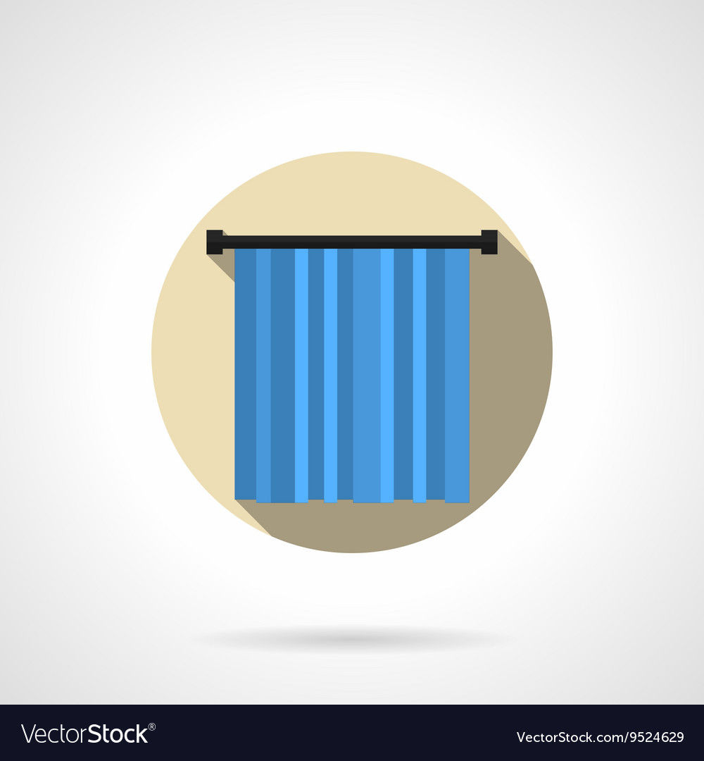 Blue curtain round flat icon