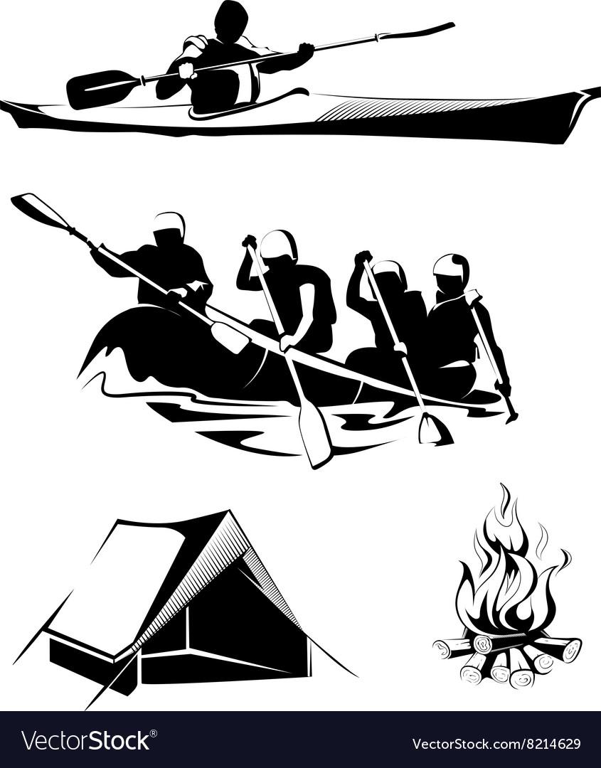 Camping rafting labels logos emblems