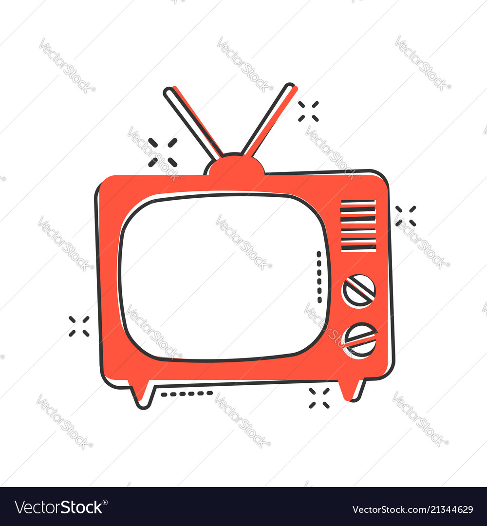 Cartoon tv icon in comic style television sign