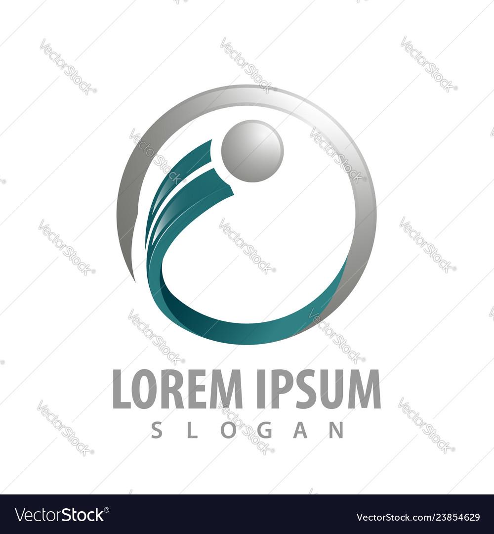 Circle line initial letter i logo concept design