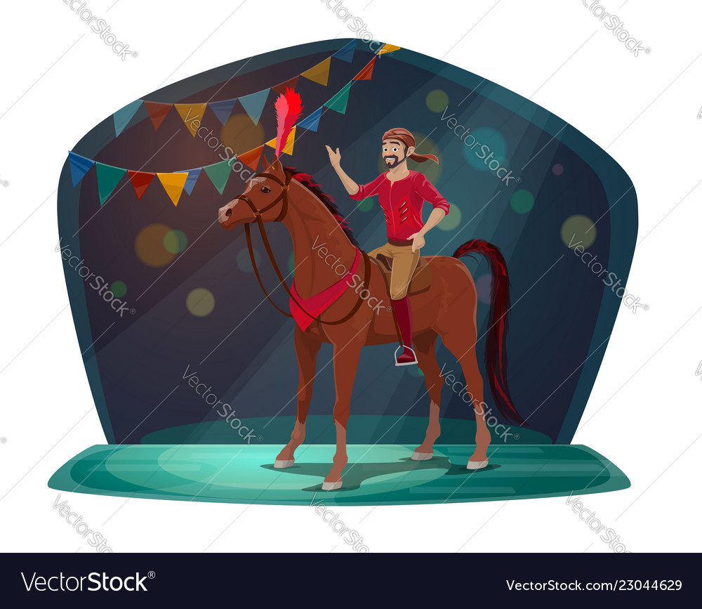 Circus show horse and acrobat or equestrian