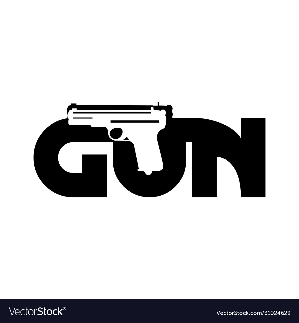 Creative design letter gun with gun in flat style