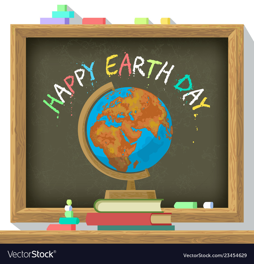 Earth day poster school blackboard with color