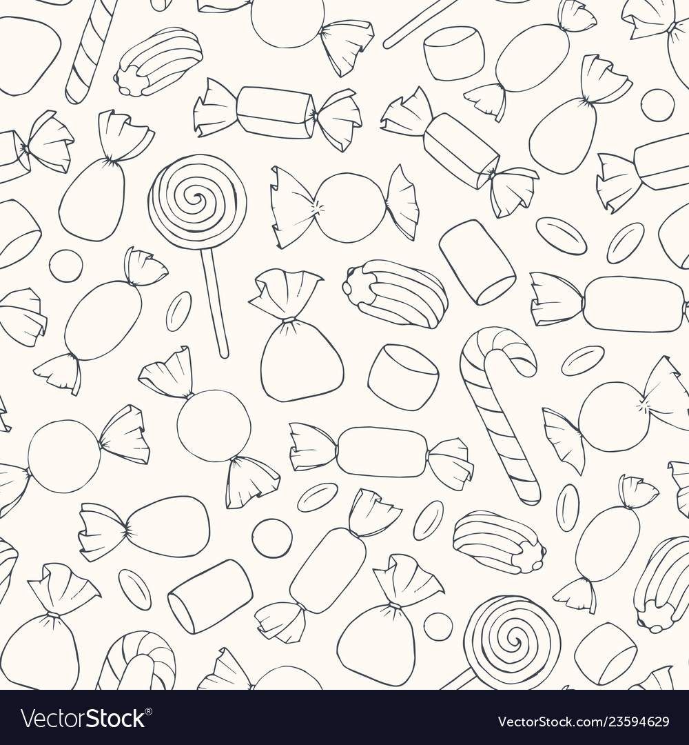 Hand drawn candies and marshmallows pattern