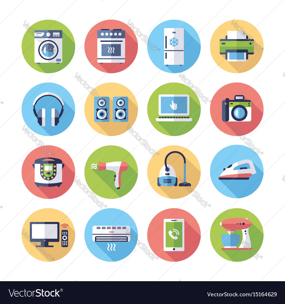 Home Appliances Modern Flat Design Icons Vector Image