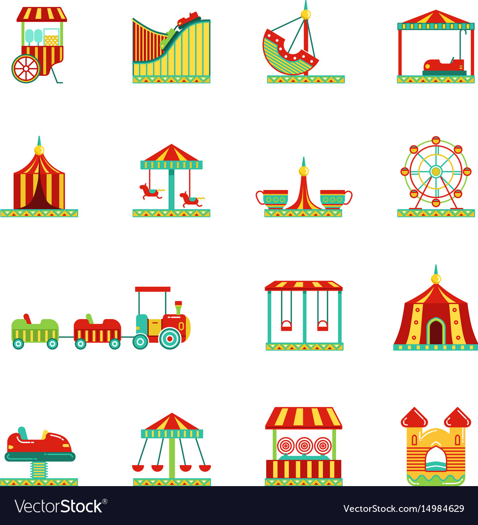 Icon set of attractions in amusement park circus