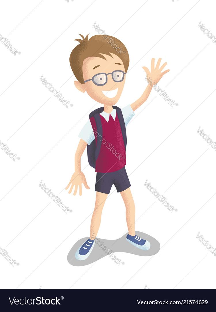 Male character is a happy school boy
