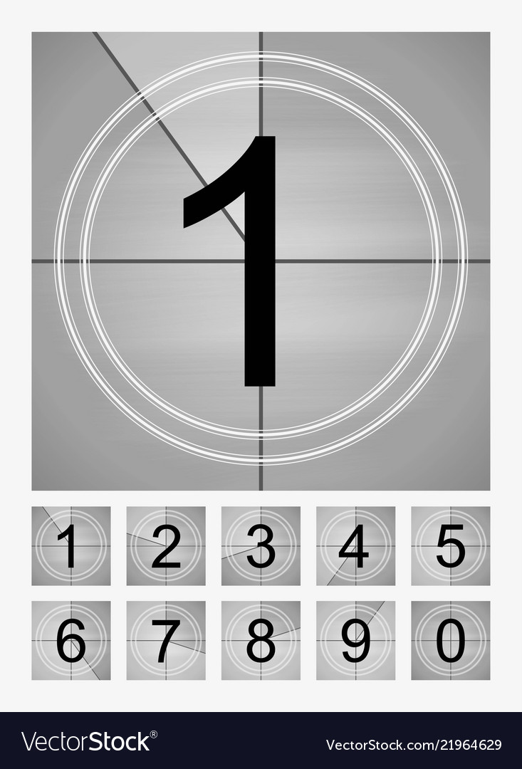 Movie countdown frames set old film cinema timer Vector Image