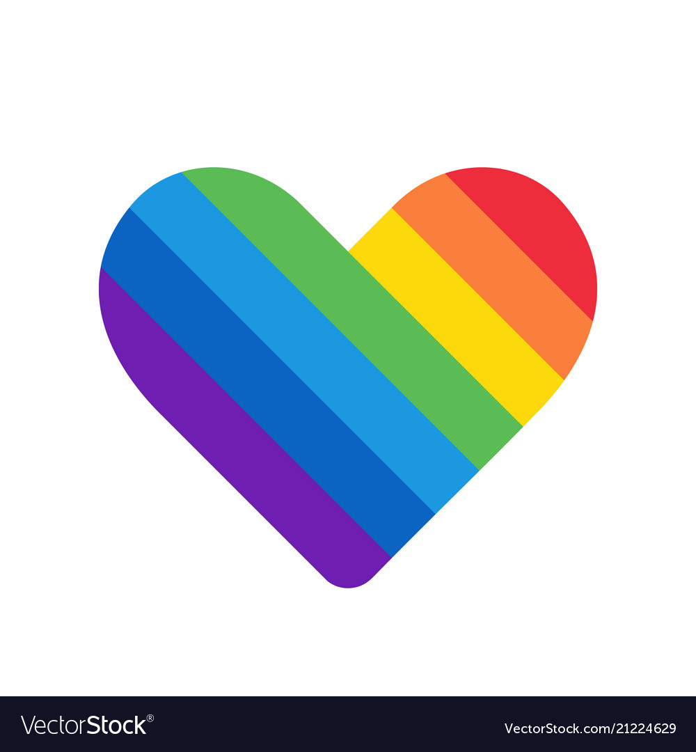 Rainbow heart love symbol icon with colorful