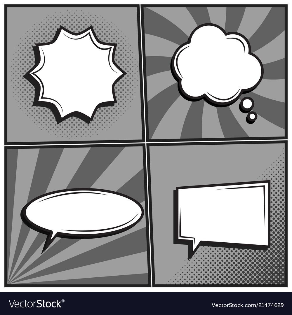 Set of empty template comic text speech bubbles