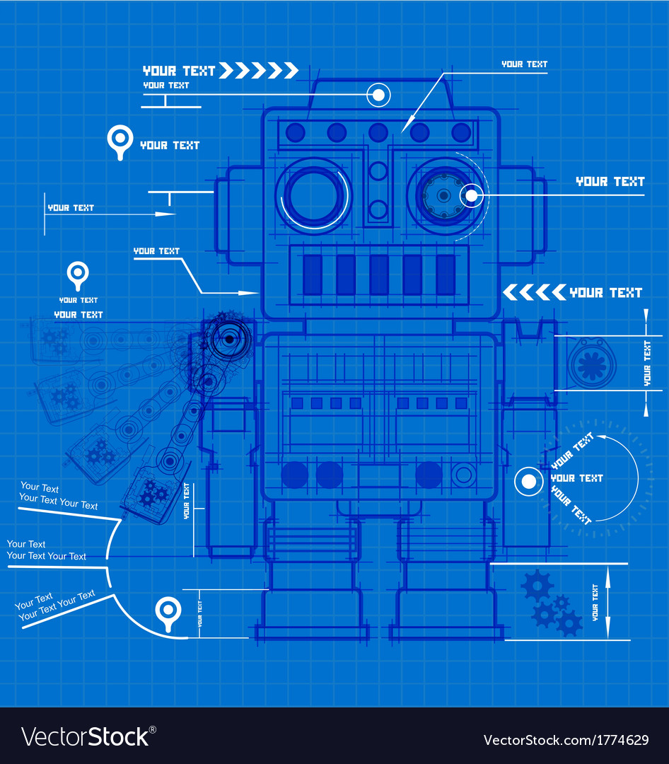 Sketch robot blueprint royalty free vector image sketch robot blueprint vector image malvernweather Images