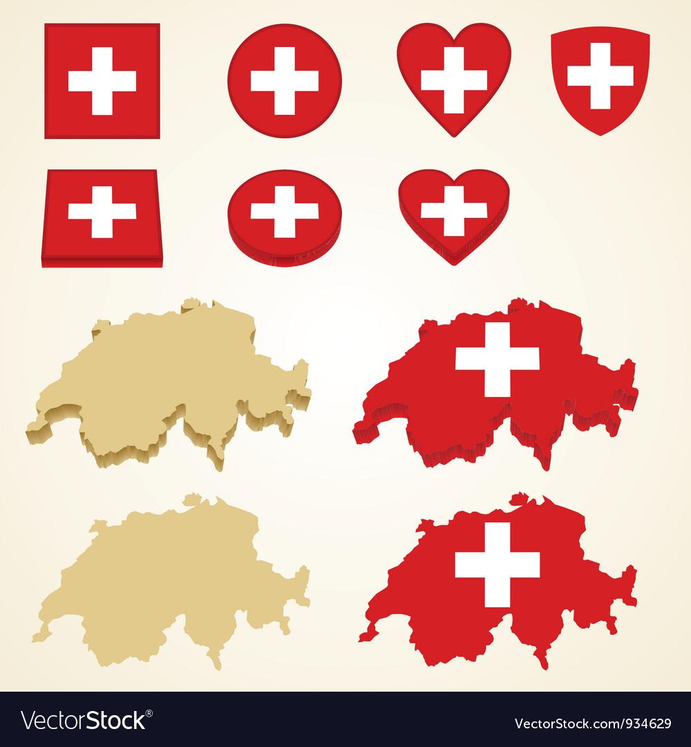 Switzerland map flag 3D pack