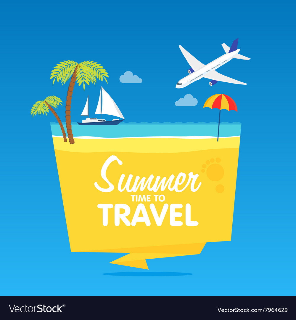 Time to travel summer vacation flat