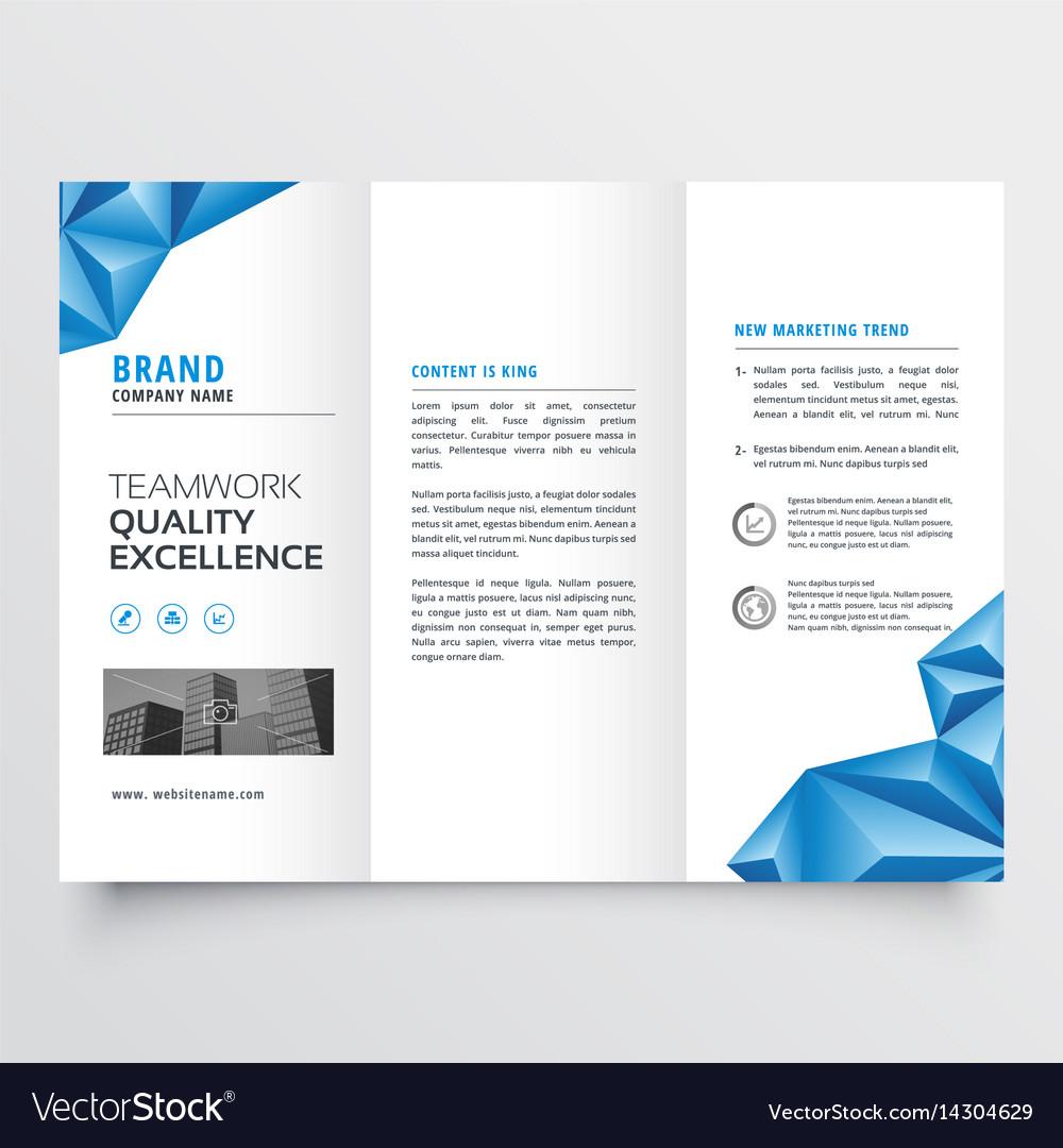tri fold brochure flyer design with geometric vector image