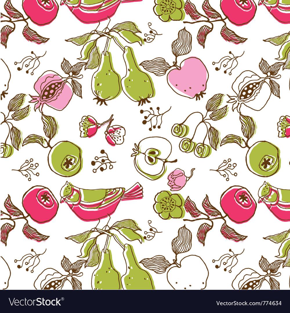 Bird and fruit wallpaper vector image