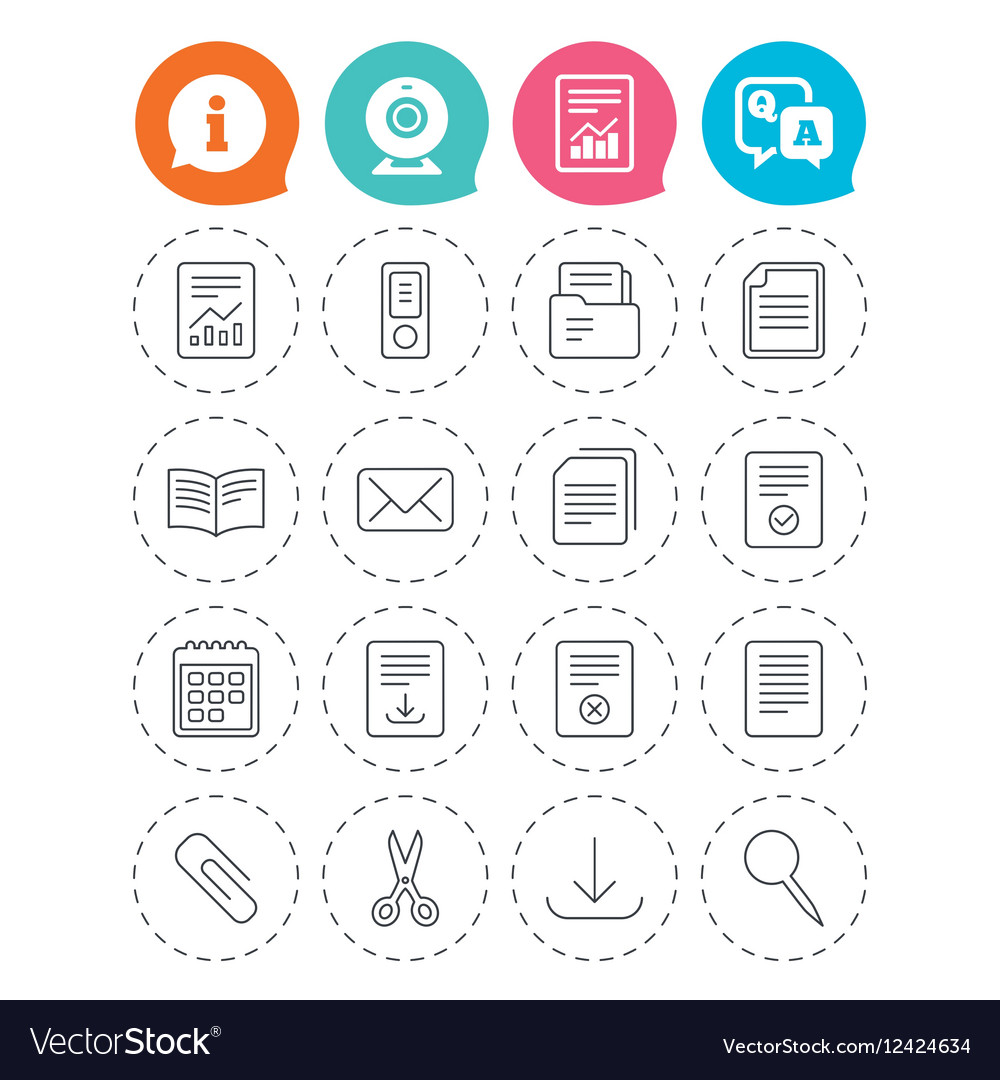 Documents linear icons Accounting book