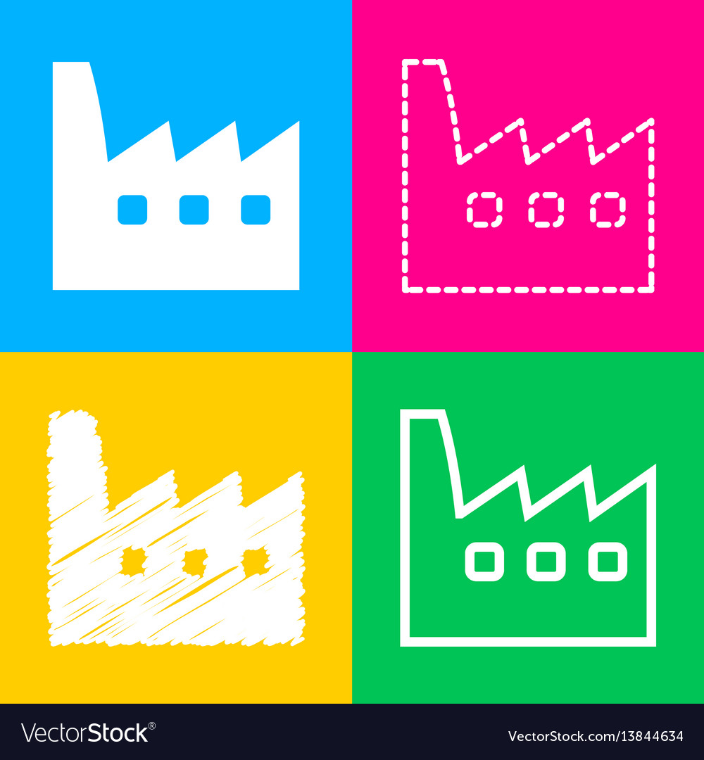 Factory sign four styles of icon on
