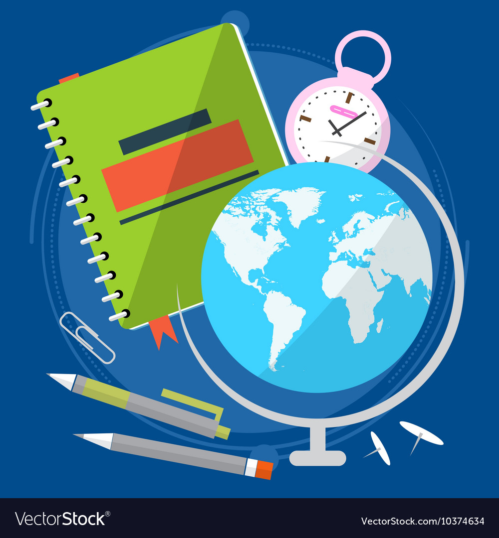 Globe with world map close the textbook pen and vector image gumiabroncs Gallery