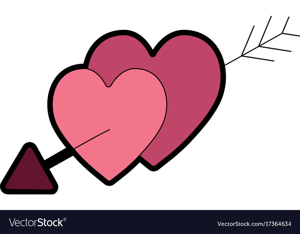 Hearts With Arrow To Symbolic Of Passin And Love Vector Image