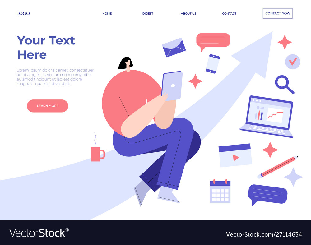 Landing page template with woman on arrow holding