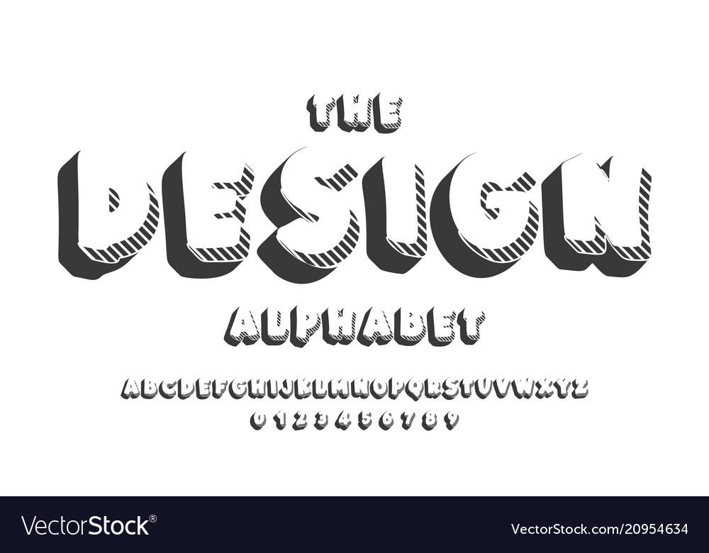 Latin alphabet design bold font in cute cartoon