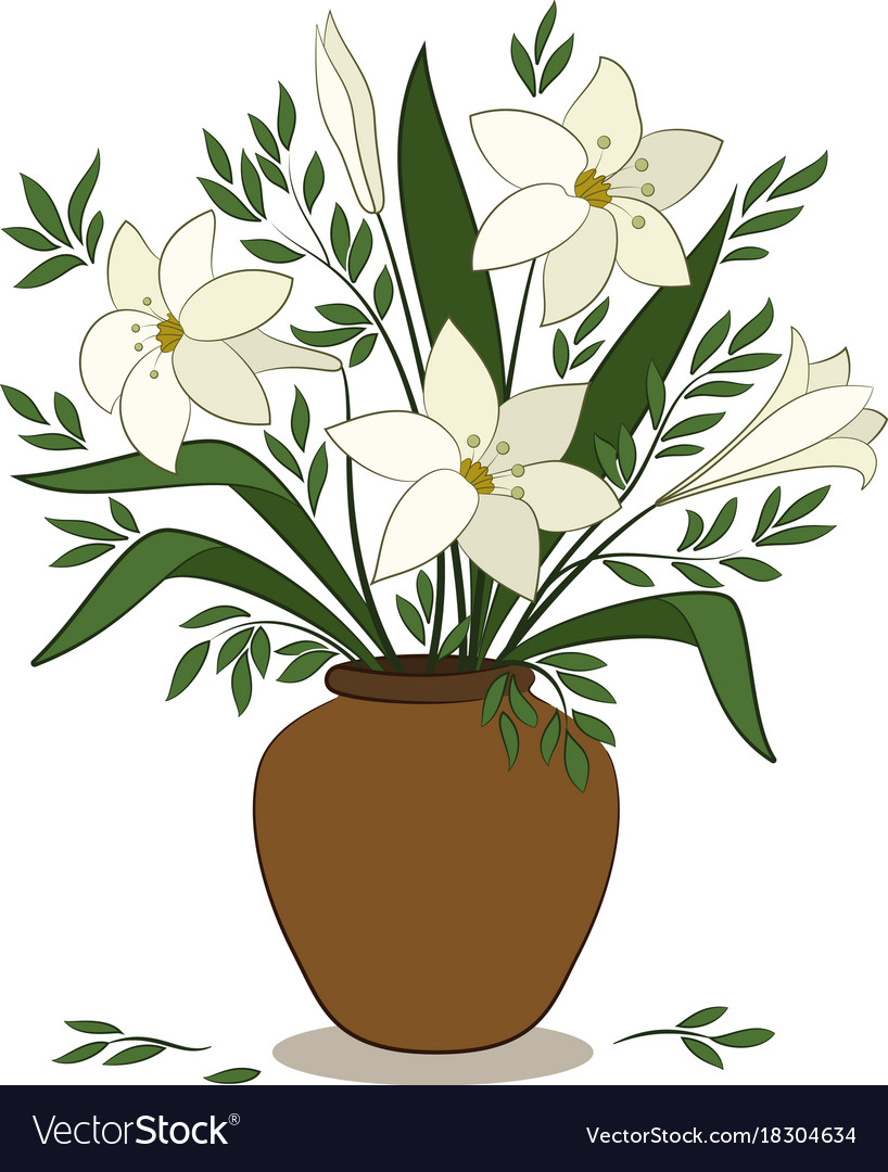 Lilies Flowers In A Vase Royalty Free Vector Image