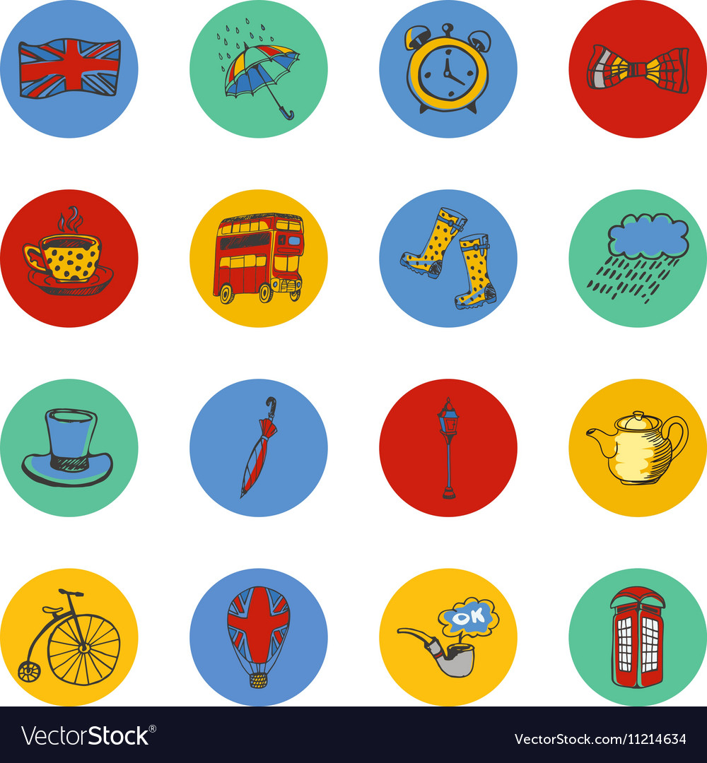 National Symbols of England Icon Collection vector image
