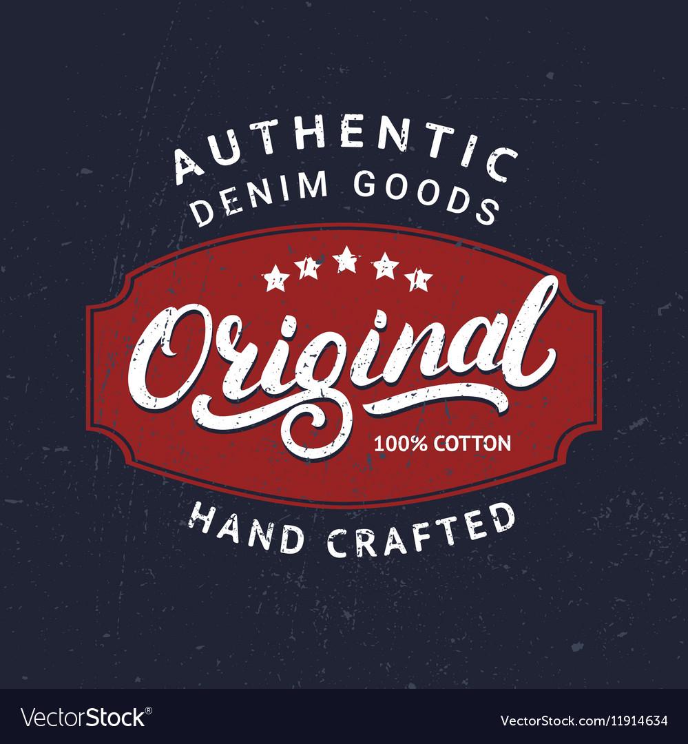 Original hand written lettering for label badge vector image
