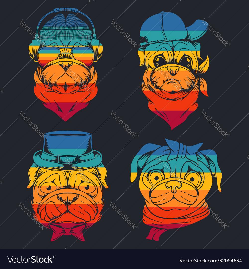 Pug dog head collection retro