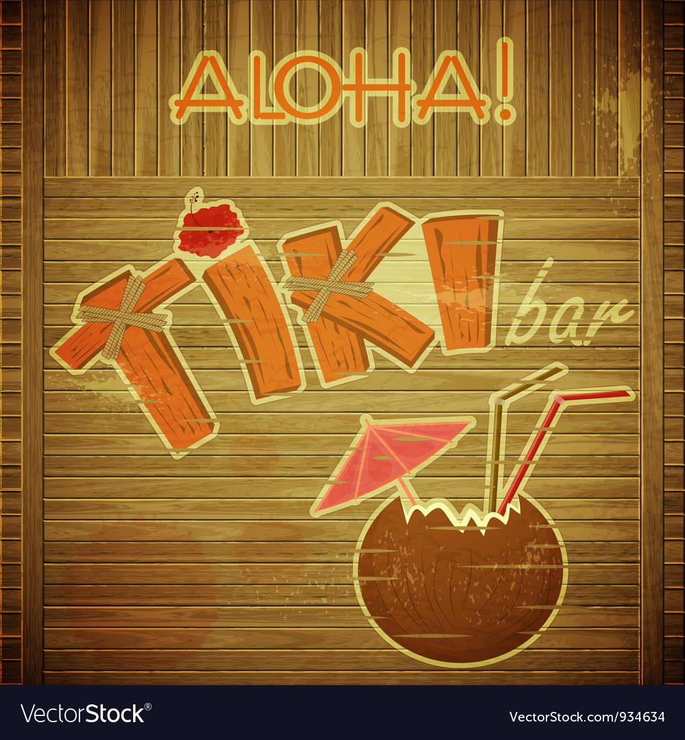 retro design tiki bar menu on wooden background vector image