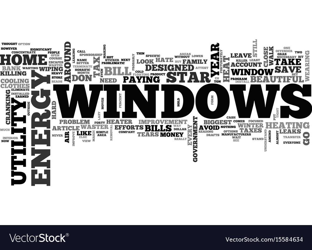 Windows and killer utility bills text word cloud vector image