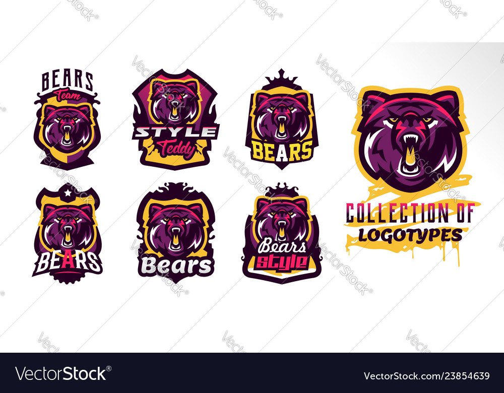 A set of colorful logos badges stickers emblems