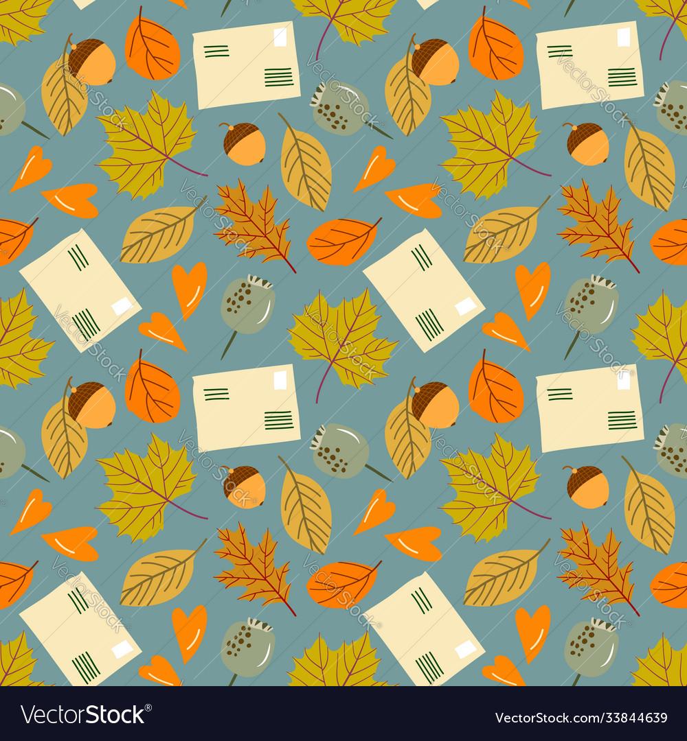 Autumn seamless pattern with leaf leaf