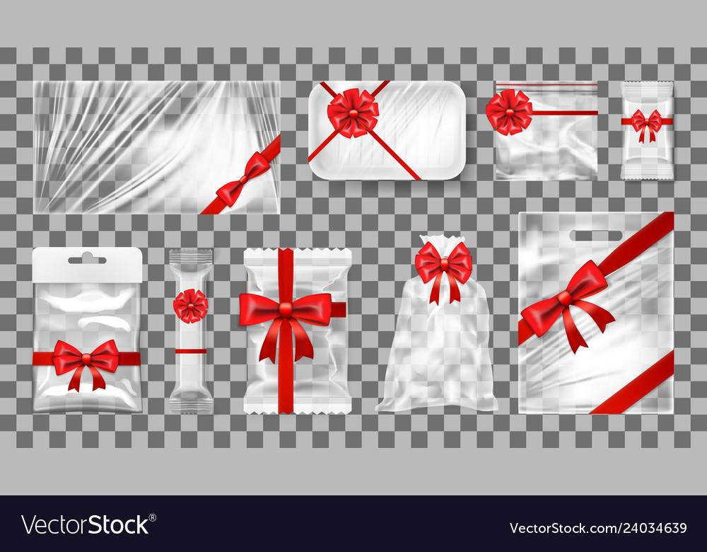 Big transparent empty white plastic gift pack