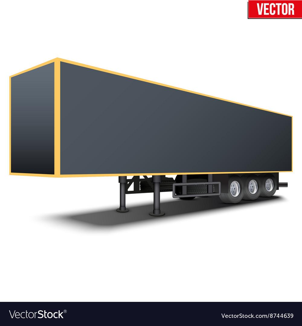 Blank black parked semi trailer vector image
