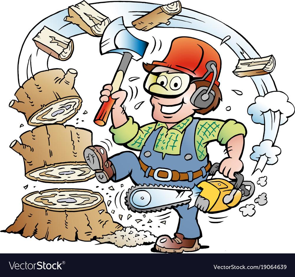 Cartoon of a happy working lumberjack or