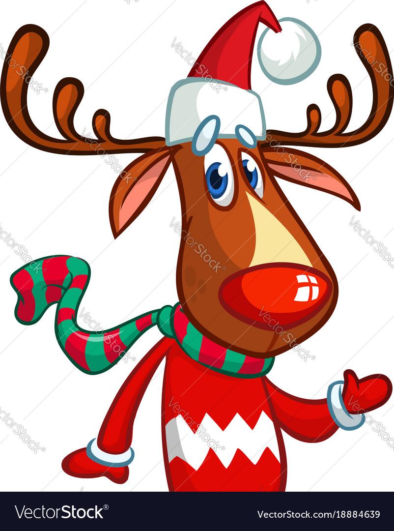 b95577e662924 Christmas reindeer in santa claus hat Royalty Free Vector