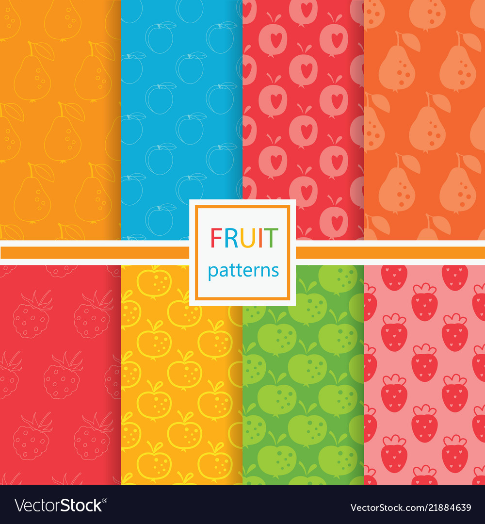 Fruits seamless patterns set
