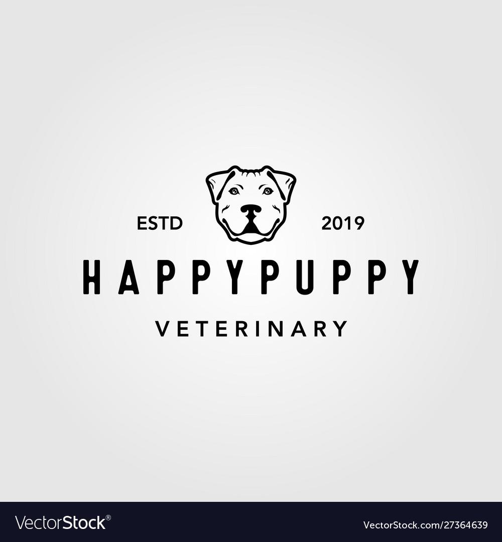 Happy puppy dog pet vintage logo design
