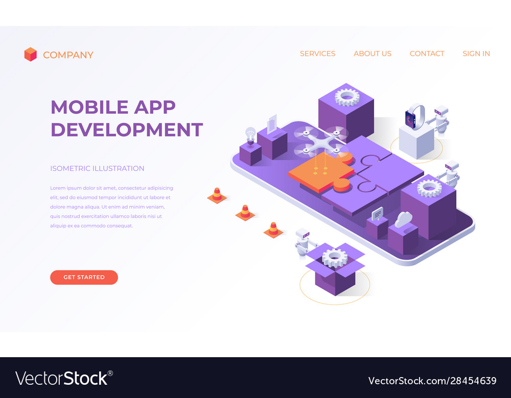 Landing page for mobile app development